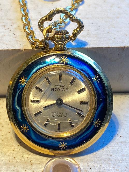 1960's Royce  decorative Ladies Fob Watch & Chain