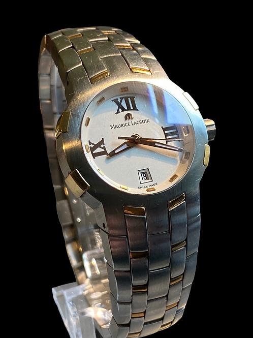 1990's Maurice Lacroix Ladies Milestone 18ct Gold and Steel Bracelet Watch