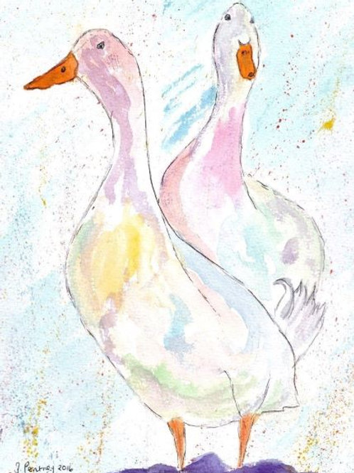 (3) Puddle Ducks Greeting Card
