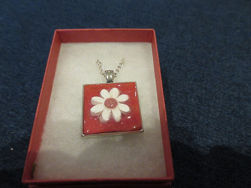 Artisan Ooak Polymer clay daisy square pendent
