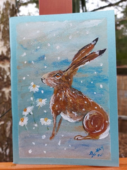Winter Hare A5 Journal - handpainted