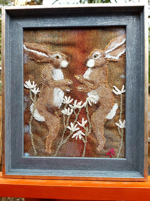 Pure wool & Needlefelt Boxing Hares in frame