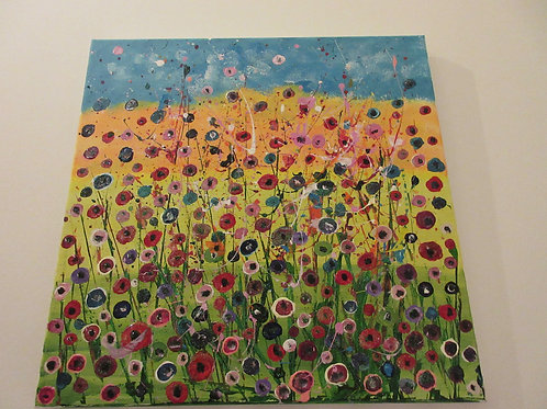 Original Acrylic poppy explosion painting canvas