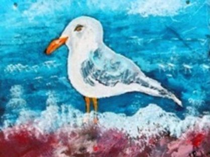Seagull on the shore - hand-painted on slate
