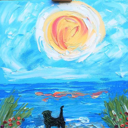Artisan oil on canvas labrador in the sea