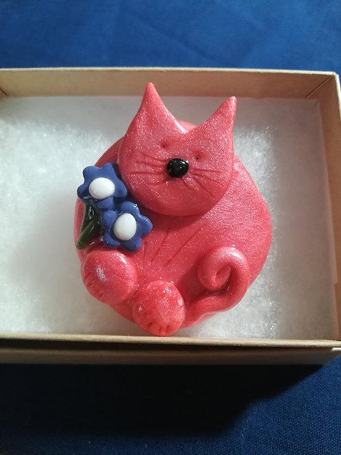Artisan Pink Cat Brooch