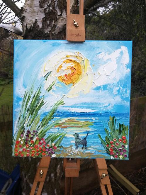 Artisan oil canvas - Labrador on the beach