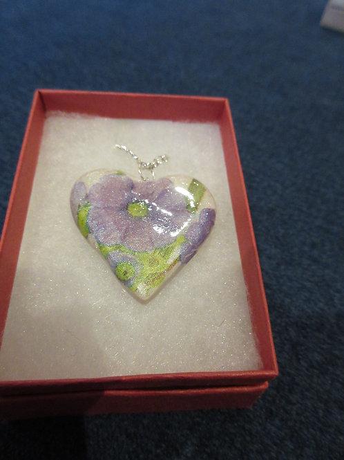 Artisan ooak purple flower heart pendent