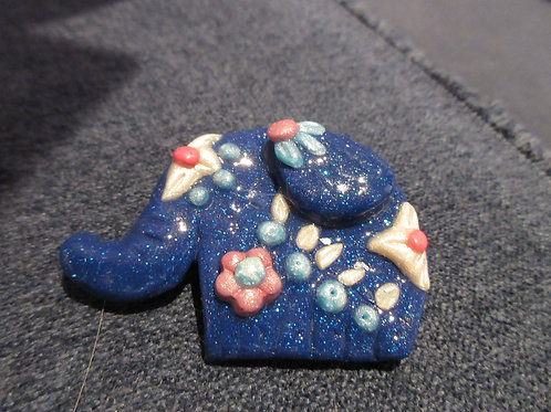Artisan Ooak Polymer Clay Elephant Brooch