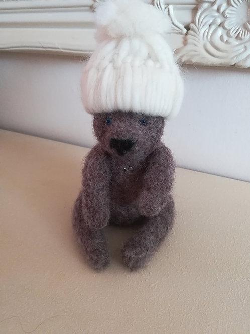 Artisan Ooak Brown bear with cream hat