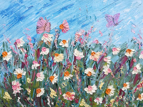 Artisan Oil on box-canvas,  Daisies & Butterflies