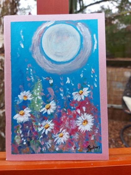 Moonlight Daisies A5 handpainted Journal