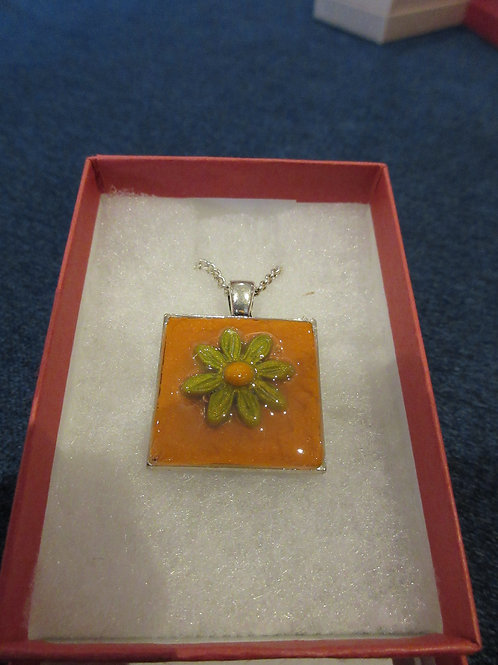 Ooak Artisan Polymer Clay Square Pendent