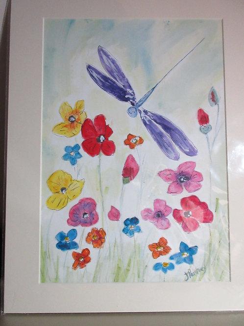 Original watercolour painting Dragonfly & Daisies