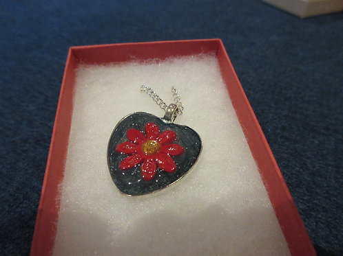 Artisan green and red daisy heart pendant
