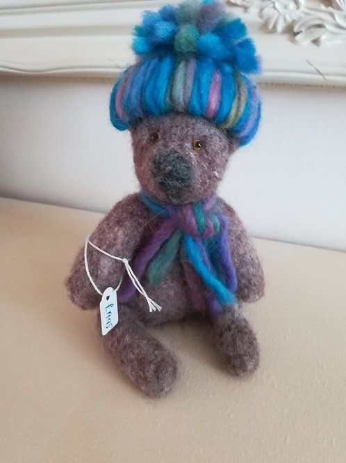 Artisan Ooak Brown bear with multi purple and green hat
