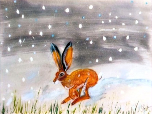 Winter Hare - unframed handpainted acrylic winter hare