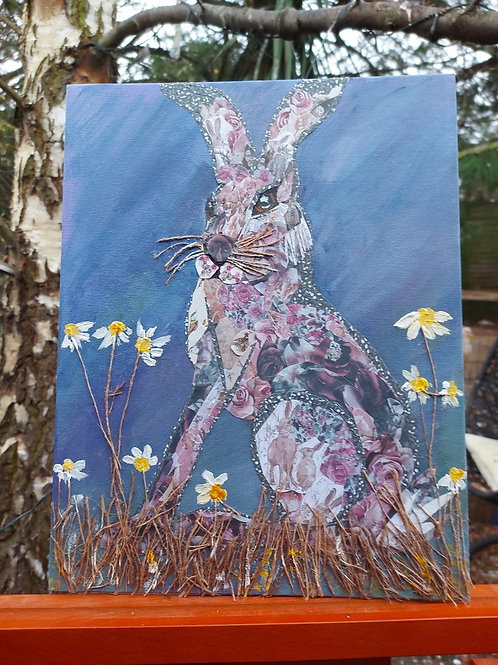 Ooak Hare Collage painting