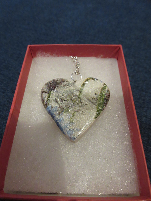 Artisan ooak white,blue and green floral heart shaped pendent
