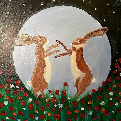 (16) Boxing Hares Dancing in the Moonlight - Greeting card