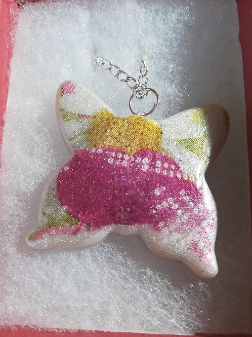 Artisan Pink & White Daisy Butterfly Pendant