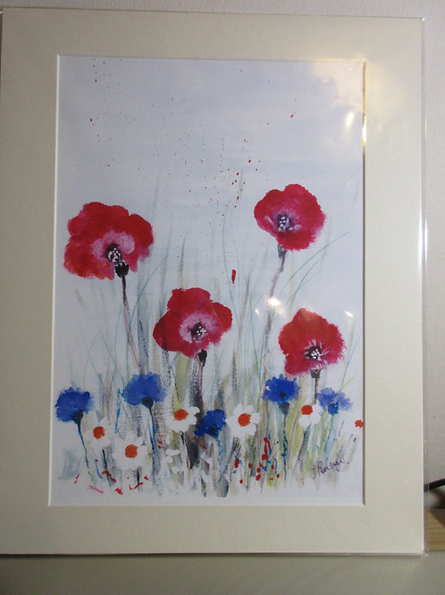 Limited edition Print - Poppies, Daisies and Cornflowers