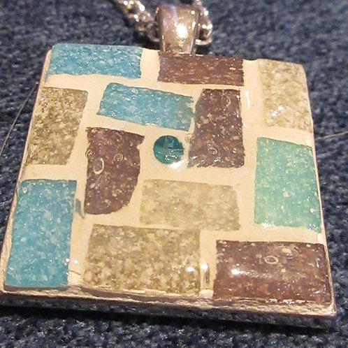 Artisan Ooak Mosaic Square Pendant
