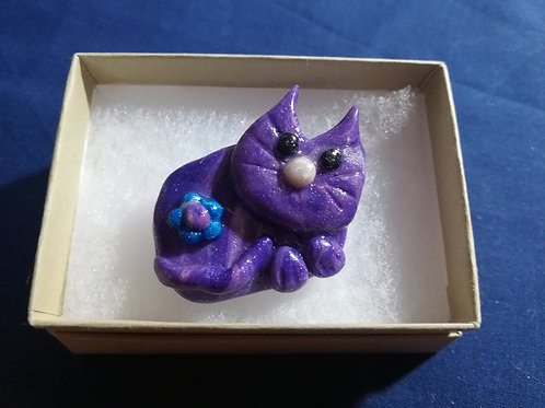 Artisan Ooak Purple Polymer Clay Cat Brooch