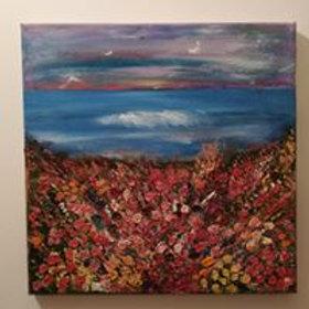Artisan oil on canvas wildflower seascape