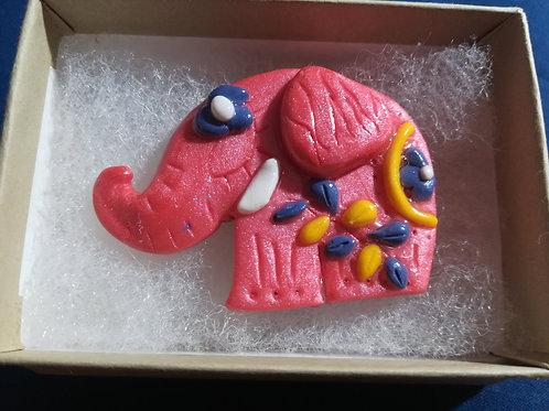 Artisan Pink Elephant Brooch Ooak
