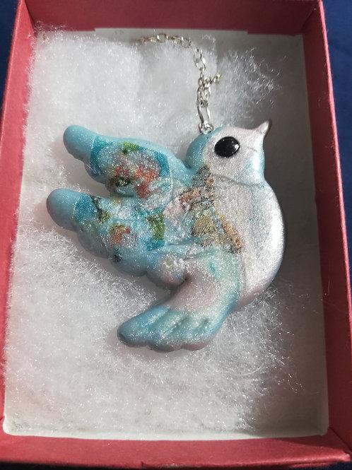 Artisan Ooak Pale Blue Floral Dove Pendant