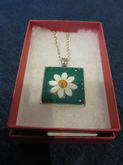 Artisan ooak polymer clay square necklace