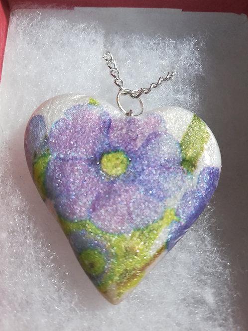 Artisan Lilac floral heart Pendant