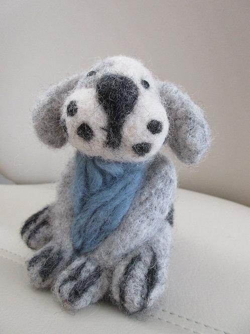 Artisan ooak needle felt sculpture Spotty Dog