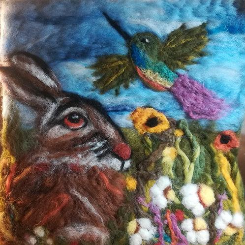 Artisan Ooak Wet felt/needle felt Hare &Hummingbird