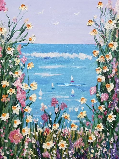 Artisan Oil Wild flowers & daisies overlooking yachts on the ocean