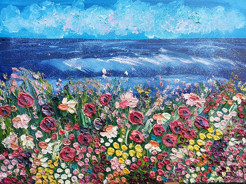 Artisan Oil on canvas - wildflowers and Poppies on the coast