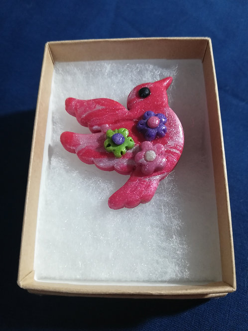 Artisan Ooak Sparkly Red & Ivory Dove Brooch