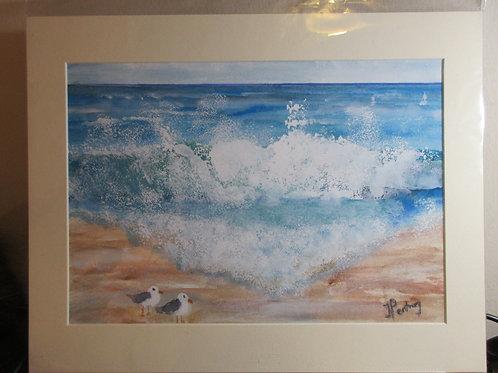 Limited edition print - 2 gulls on the beach