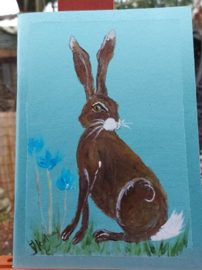 Handpainted and Hare and Cornflower A5 Journal