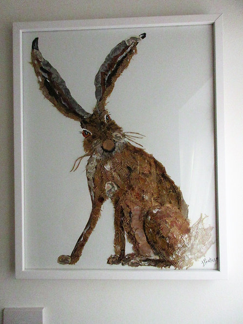Textile and acrylic Hare wall art in frame