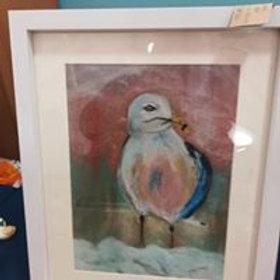 Original Artisan Pastel Drawn Seagull in frame
