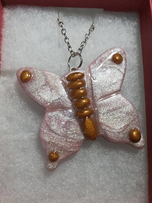 Artisan pink & gold butterfly pendant