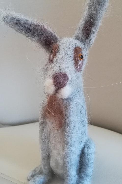 Artisan Handcrafted Light Grey needle felt hare