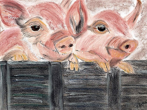 (59) Two little Pigs Greeting card