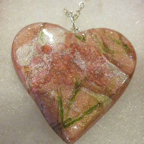 Artisan Pink floral heart pendant and chain