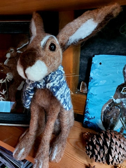 Ooak needle felt hare with scarf