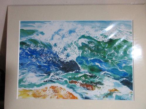 Original watercolour painting- crashing waves