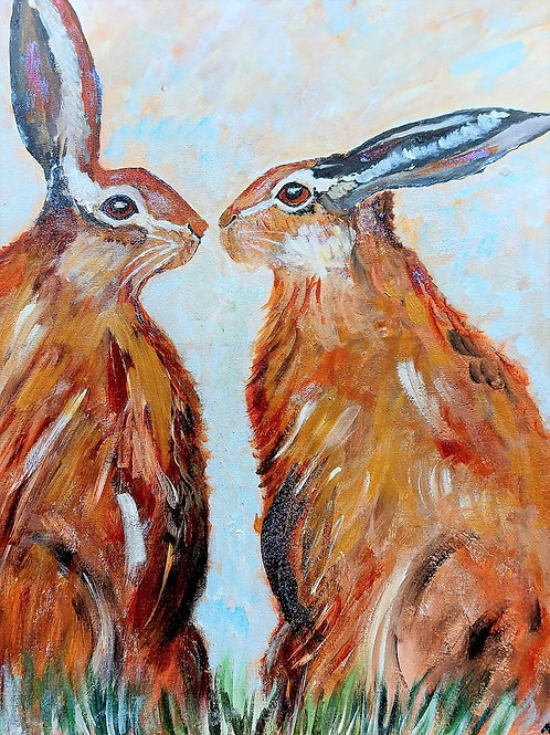 Kissing Hares - hand-painted on canvas