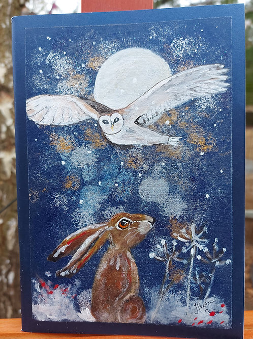 Unique handpainted A5 Hare and Owl in the Moonlight Journal